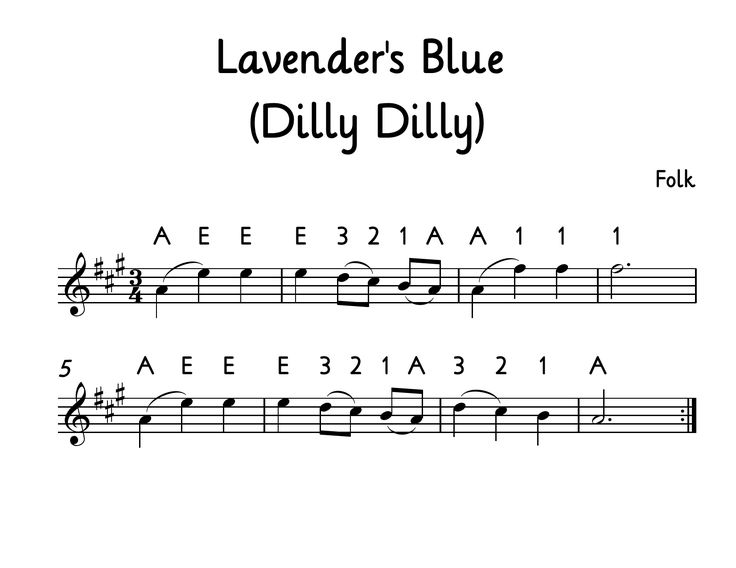Lavender's Blue (Dilly Dilly) for beginning violin. Download a PDF of this at Music for Young Violinists. This song was made popular in the Disney movie Cinderella.
