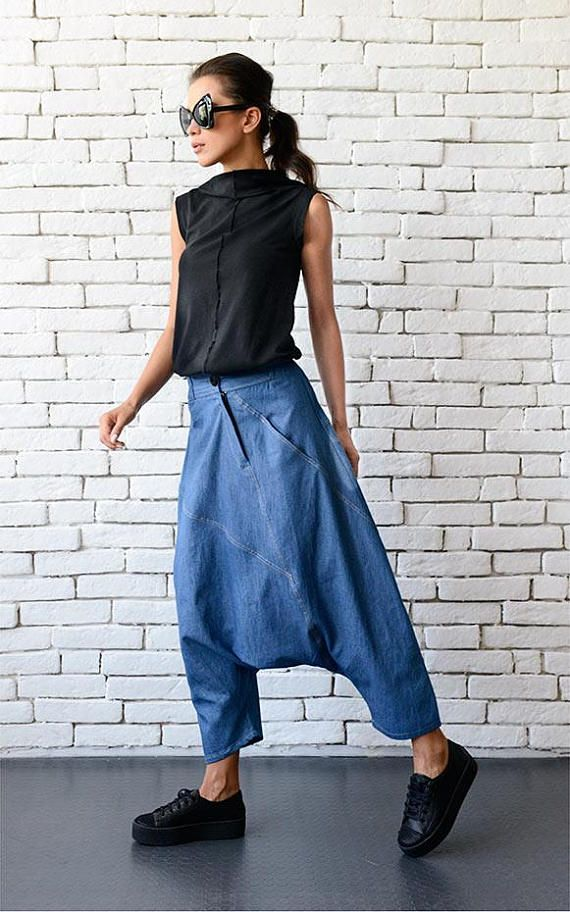 Blue denim maxi pants - METP0032 An extravagant creation that will turn your urban style into a fashion sensation! The fabric is light weight which is a great choice for warm days. Those pants are not only pretty to look at, but very comfortable to wear and suitable for every day use -