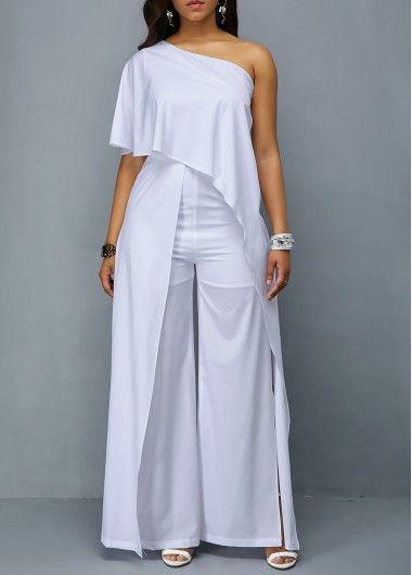 2ffa157045d Side Slit One Shoulder Overlay White Jumpsuit