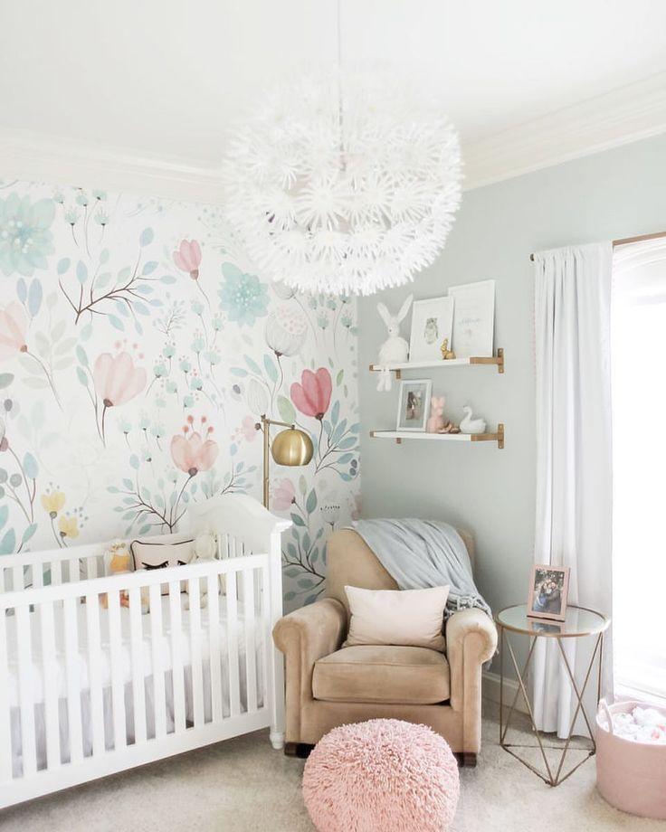 Love The Light Fixture And One Wall Of Wallpaper Girl Nursery Room Nursery Baby Room Baby Girl Nursery Room