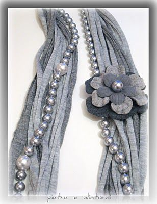 This gives me ideas of playing with attaching details to a scarf - easy and pretty.