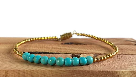 Jasper stone turquoise and gold bracelet