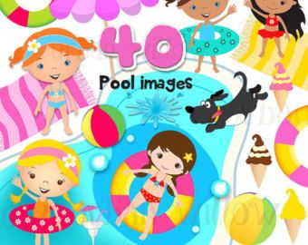 Piscina Party Fun - 42 clip digital arte valor pack de piezas, en archivos de alta resolución, Png, Jpeg y vectores arte digital.