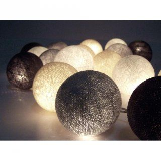 Lichterkette aus Baumwolle - Hellgrau