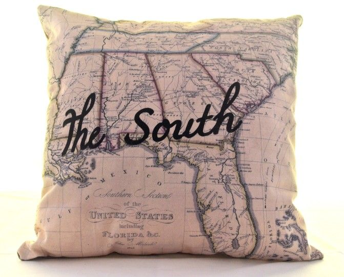 Southern Pride Pillow Cover on BourbonandBoots.com #pillow #map #thesouth