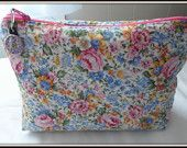 THIS BAG SOLD ......................................Country Roses Pastel Cosmetic Bag - Fabric quilted by me and discounted by 10% now until April 30th, 2014