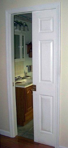 Pocket Door, skinny bathroom door idea
