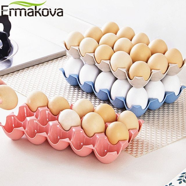 Egg Holder Tray Storage Plastic Refrigerator Eggs Box Case Container 15 Slots