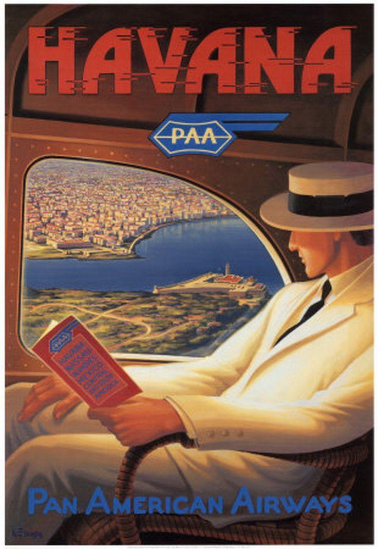 Kerne Erickson Poster, Vintage Travel Posters, Art, Prints, erickson kerne havana