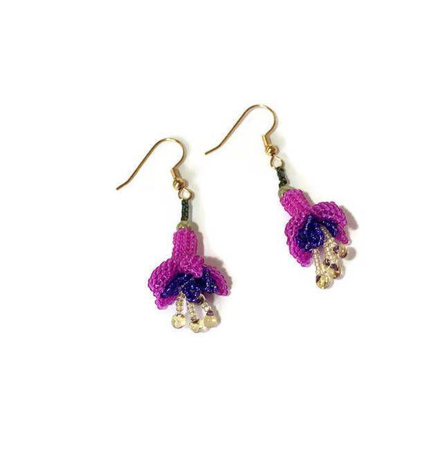 Beaded Fuchsia Flower Earrings 10 00 Fuchsia Flower Flower Earrings Earrings