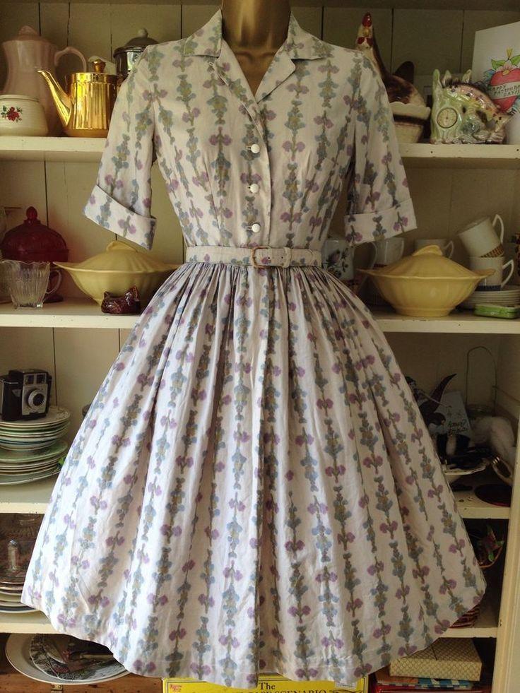 Classic 1950s TRUE VINTAGE Cotton Dress Tea Day Shirt Waist Swing Rockabilly £77.00 (18B)
