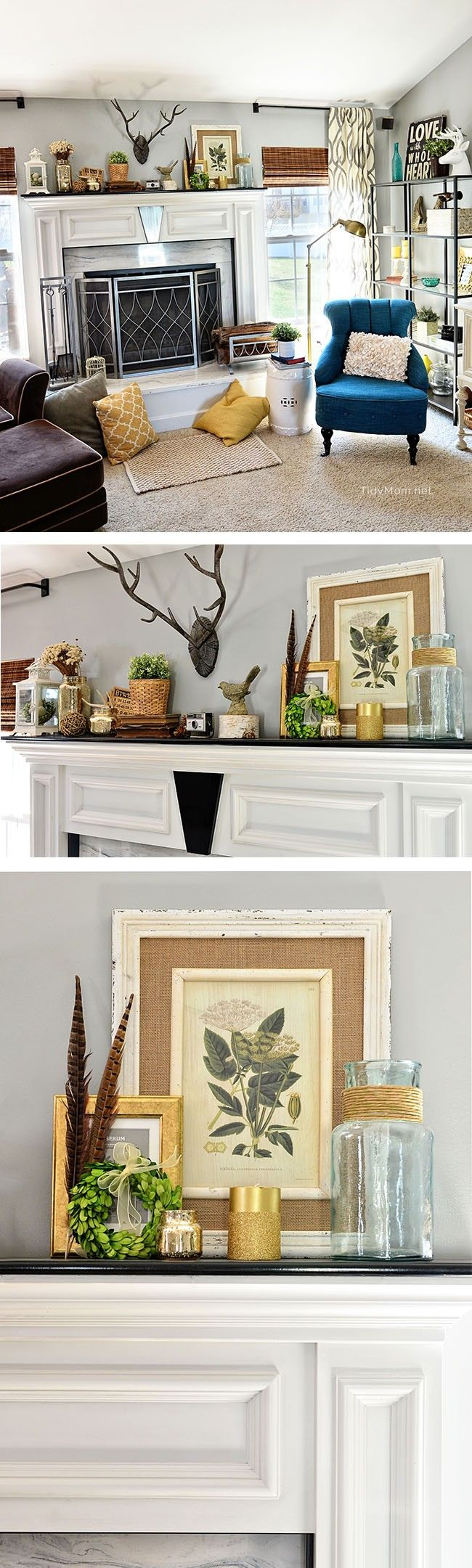 Spring Mantle and Family Room decor at
