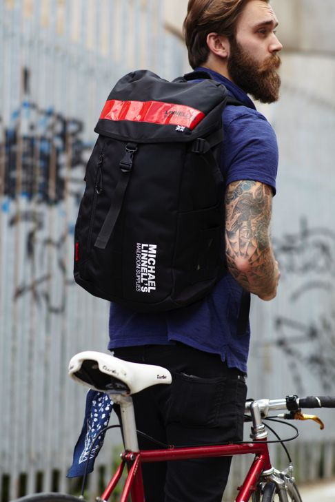 Men's Backpack with red hazardous by Michael Linnell