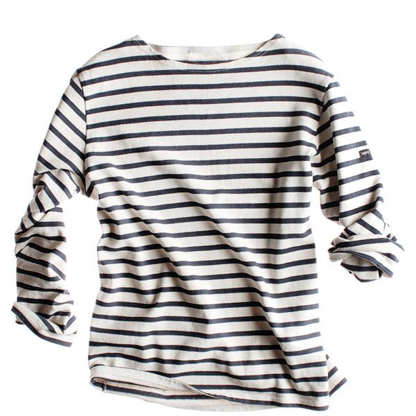 Sailor Shirt ($135) ❤ liked on Polyvore featuring tops, t-shirts, shirts, long sleeves, women, white stripes t shirt, stripe t shirt, t shirts, white striped shirt and white shirt
