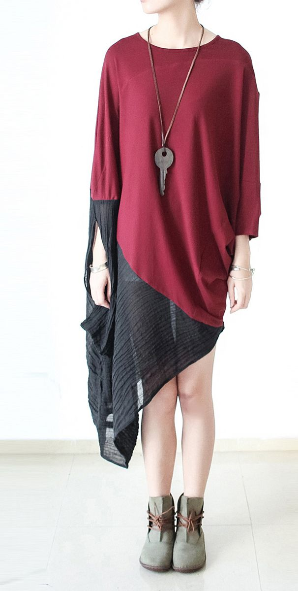 Burgundy patchwork linen dresses long sleeve tunic cotton dress asymmetrical