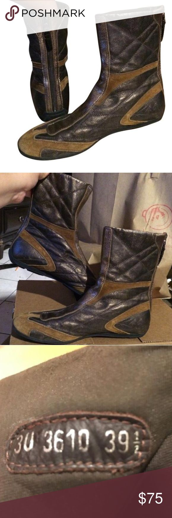 PRADA brown and gold boots PRADA brown suede and gold boots. In great condition. EU size 39.5. No box.  TAGS: UGG KORS UGGS Prada Shoes