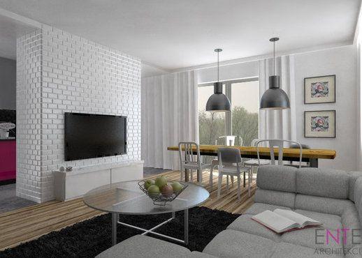 #salon #mieszkanie #nowoczesny #projekt Mieszkanie jasne, ENTE Architekci http://www.domowy.pl/projekty-wnetrz/mieszkanie-jasne-salon-i-jadalnia.html