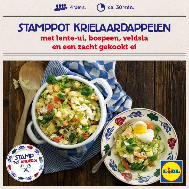 Recept voor Stamppot Krielaardappelen met lente-ui, bospeen, veldsla en een zacht gekookt ei #Lidl #Stamppot