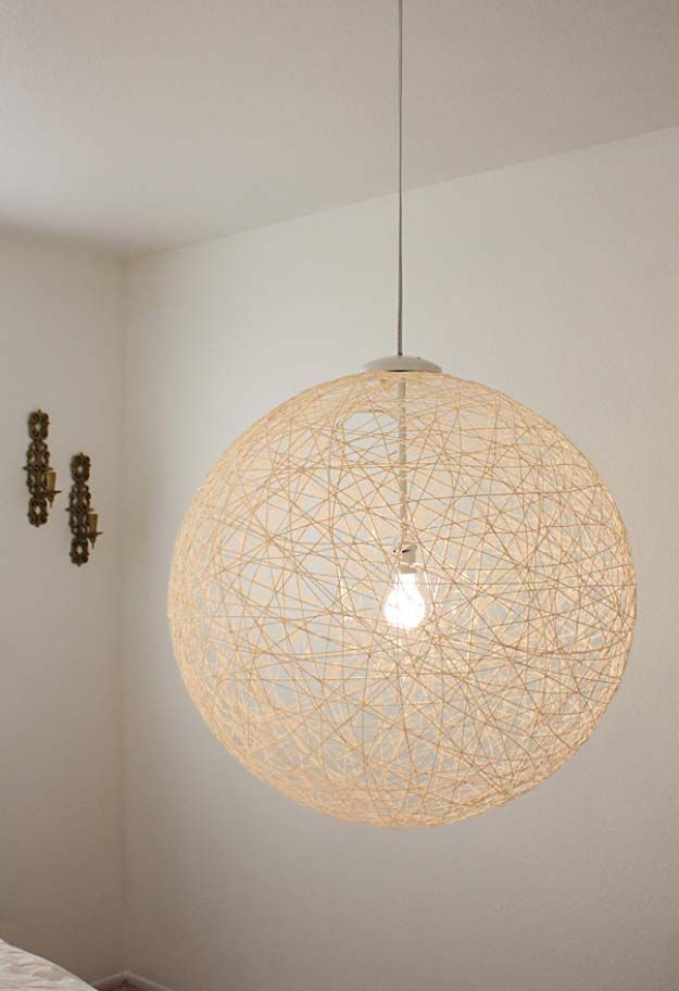 DIY Lighting Ideas and Cool DIY Light Projects for the Home. Chandeliers, lamps, awesome pendants and creative hanging fixtures,  complete with tutorials with instructions   DIY String Globe Pendant Light   http://diyjoy.com/diy-projects-lighting-ideas