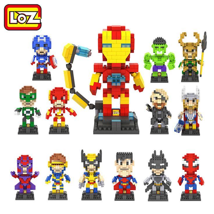 LOZ The Avengers Captain America Hulk Iron Man Thor Loki Deadpool Berlian Blok Bangunan Action Figure Anak Mainan DIY