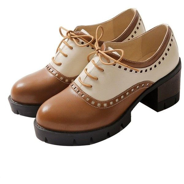 Amazon.com | Susanny Women Oxford Shoes Lace-up Mid Heels Wingtip... ($22) ❤ liked on Polyvore featuring shoes, brown shoes, brown oxfords, brown oxford shoes, wingtip oxford shoes and oxford shoes