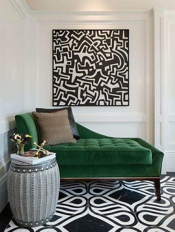 The Best Green Color Combinations for Decorating:  Green and Black and White -- a timeless color combination that also feels decidedly fresh and modern. Add in touches of gold for a glamorous feel, blonde wood for a midcentury twist, and sumptuous fabrics for a luxurious take on traditional style.
