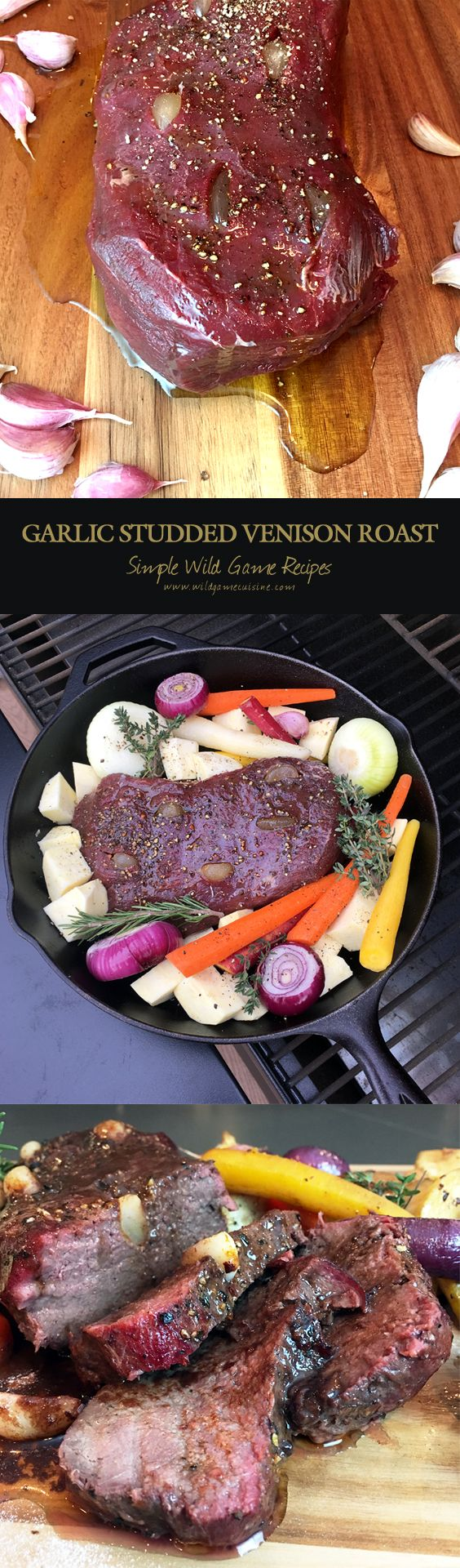 Garlic Studded Venison Roast. If you are looking for a different spin on baking or smoking your Venison roast, try adding whole garlic cloves to the roast to give the interior of the meat a unique flavor and an intense aroma.