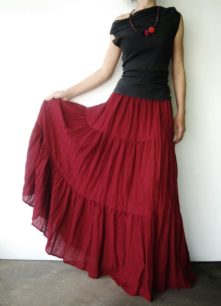 NO.5 Burgundy Cotton, Hippie Gypsy Boho Tiered Long Peasant Skirt. $38.00, via Etsy.