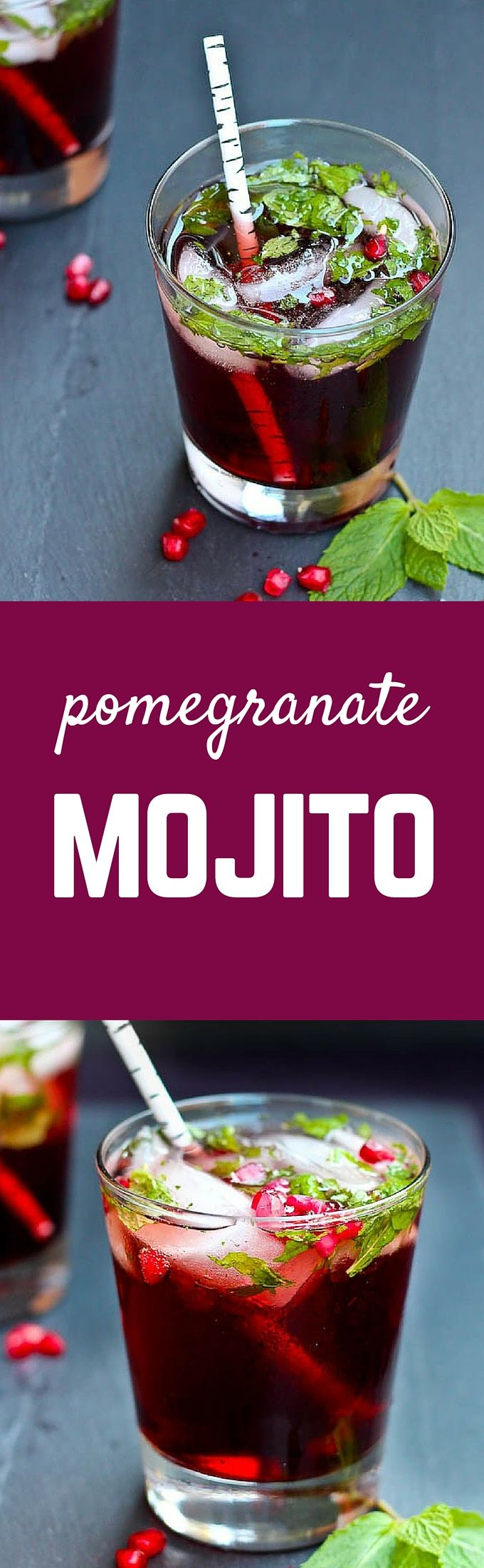 This pomegranate mojito is festive enough for the holidays but delicious enough to drink all year long! Get the fun cocktail recipe on RachelCooks.com! #sponsored #InTheRaw