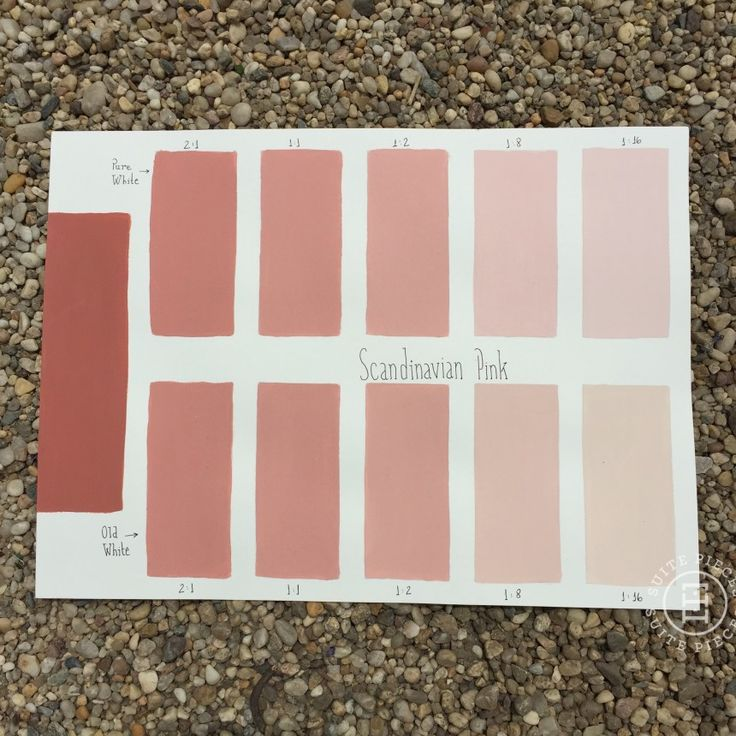 Chalk Paint® Scandinavian Pink Custom Color Chart using Pure White and Old White. Read more on our blog at Suitepieces.com | Suite Pieces