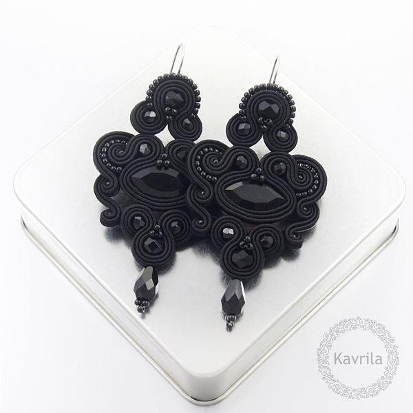 Celine black soutache - kolczyki czarne sutasz KAVRILA #sutasz #kolczyki #wieczorowe #rękodzieło #soutache #handmade #earrings #night #black #kavrila