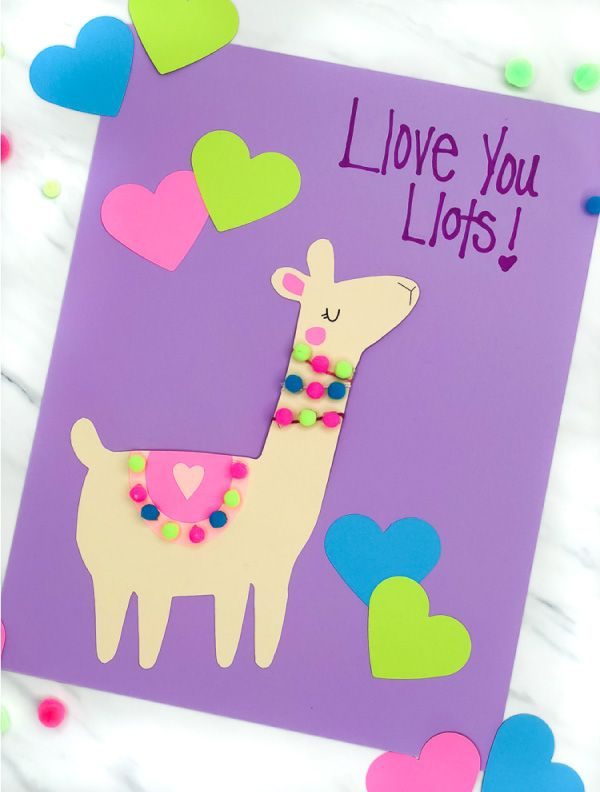 A Simple Cute Llama Valentine Craft For Kids With Free
