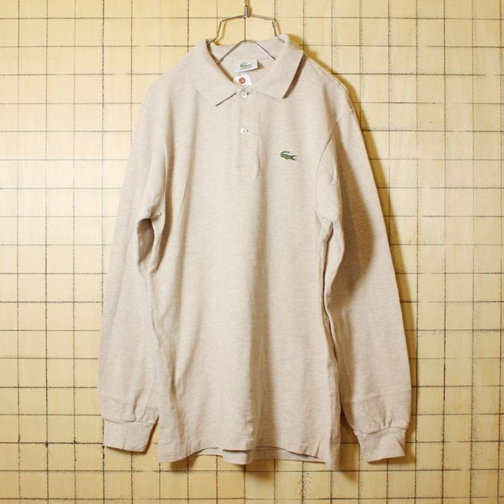 古着 80s フレンチラコステ Lacoste 長袖 杢ベージュ ポロシャツ メンズS シェルボタン