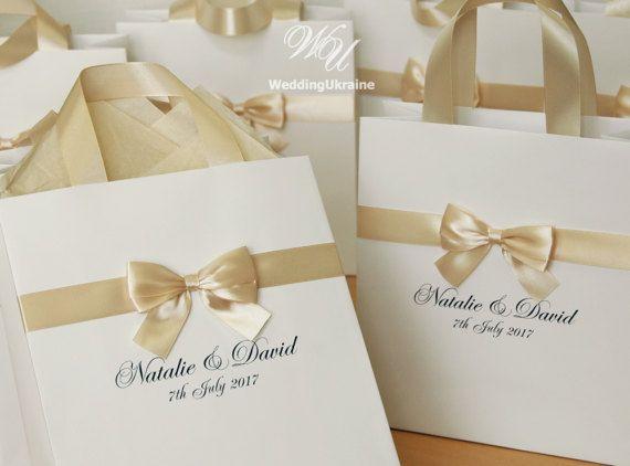 50 Wedding Bags with Champagne satin ribbon bow by WeddingUkraine
