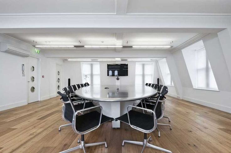 Interior Design Office with wooden floor and white wall for meeting room