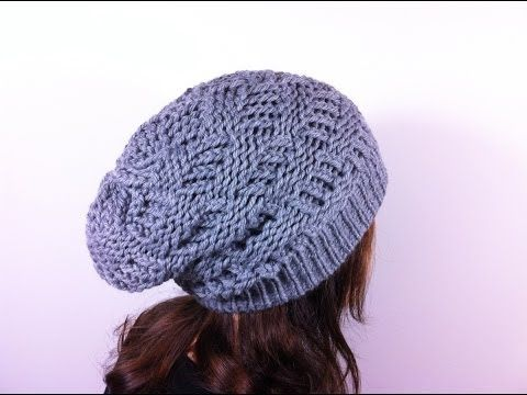 How to Loom Knit a Basket Weave Slouchy Beanie Hat (DIY Tutorial) - YouTube