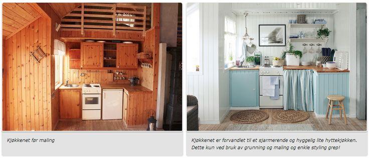 Flott hyttekjøkken, kun skapt med litt maling :-)