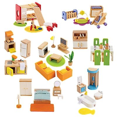 Complete Wood Dollhouse Furniture Set | OneStepAhead.com $100
