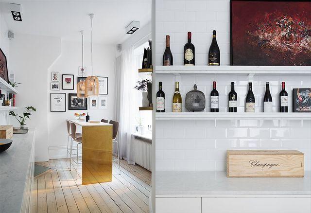 Ett köksbord i mässing och marmor