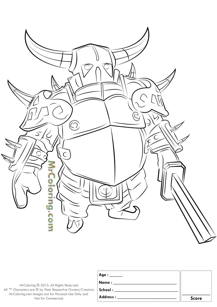 Free Printable Clash of Clans Pekka Knight Coloring Pages - 1