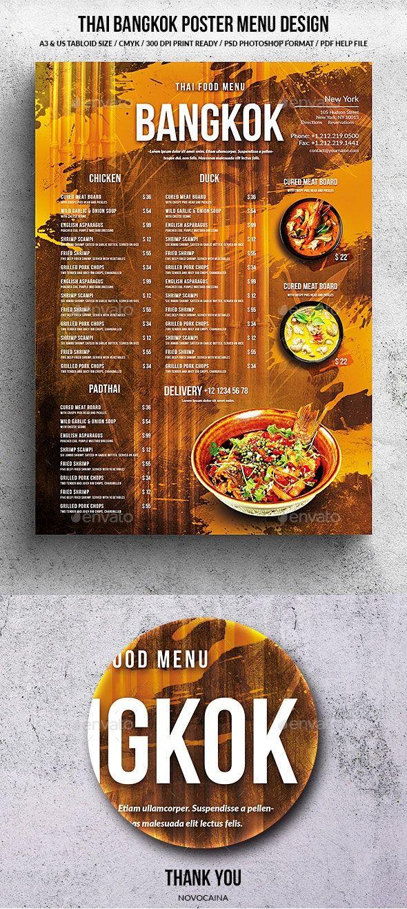 Thai Bangkok Menu Design A3 Us Tabloid In 2020 Menu Design Thai Menu Food Menu Design