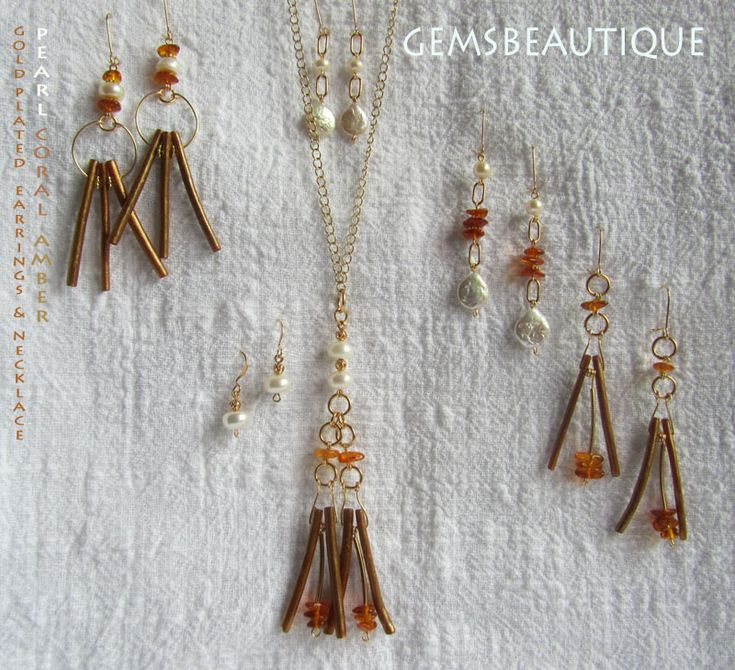 Coral, Amber and Pearls Pendant and Earrings. Gold plated. #Gemstone #Jewelry by #Gemsbeautique