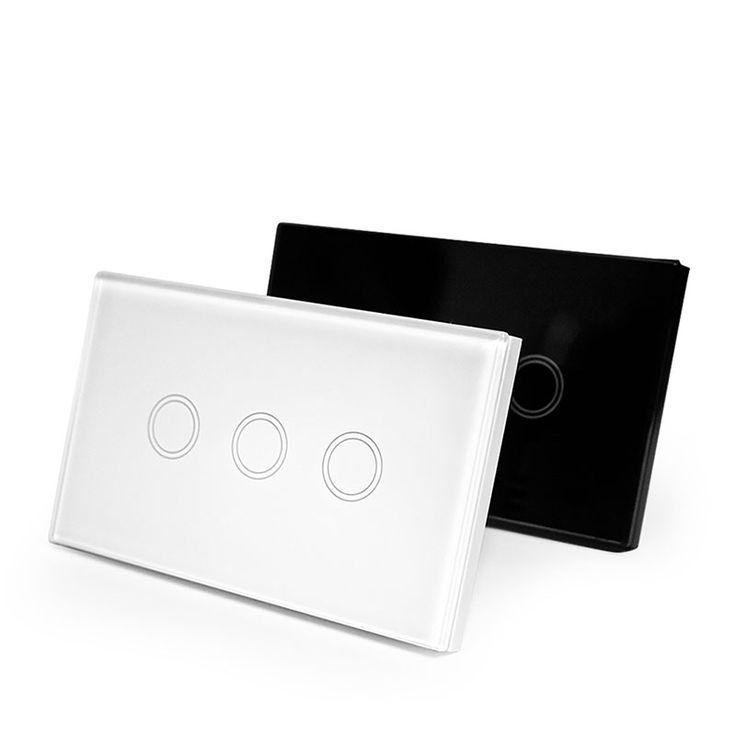 NOUS Standard Interrupteur Mural Panneau de Verre Tactile Commutateur 3 Gang 1 Way Lumière Switch120 * 72mm Étanche La Maison De Luxe commutateur