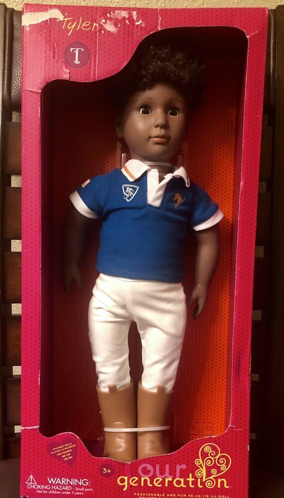 "OUR GENERATION TYLER 18"" AFRICAN AMERICAN BOY DOLL WITH RIDING OUTFIT NIB"