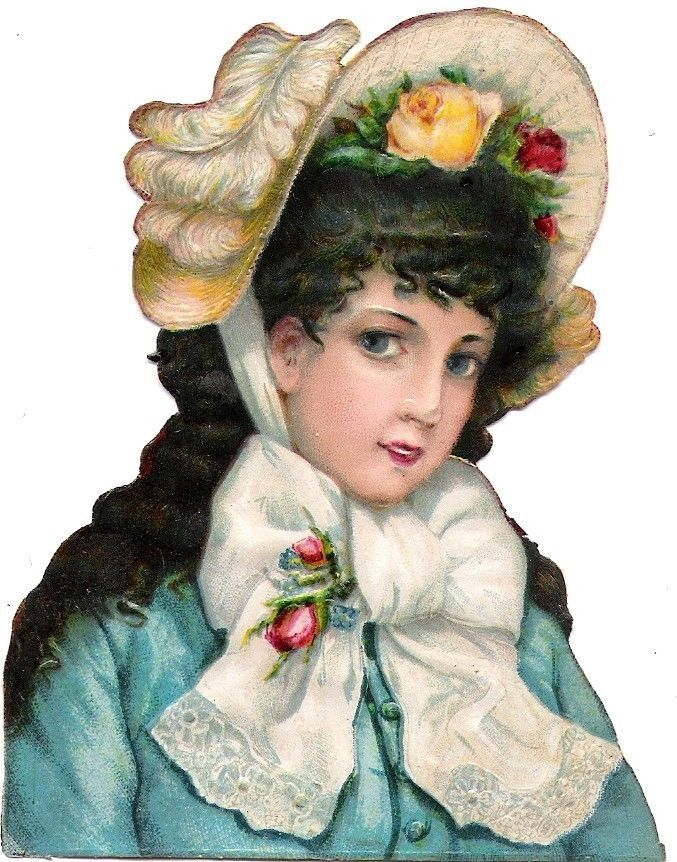 Oblaten Glanzbild scrap die cut chromo Lady Dame femme head portrait  Hut hat