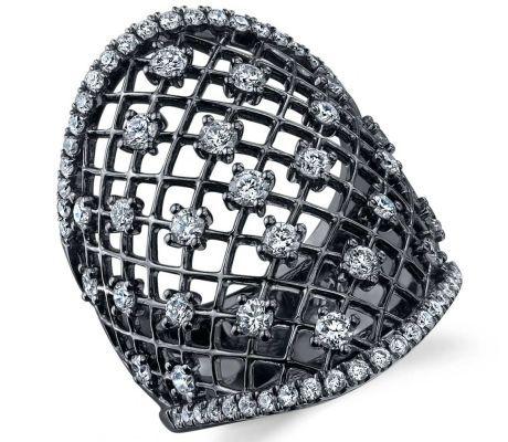 Sylvie Collection black rhodium diamond lace ring #brittspick