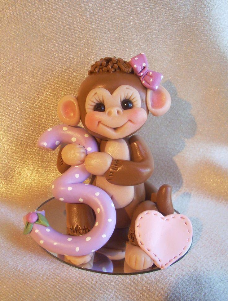 monkey birthday cake topper polymer clay decoraton by clayqts