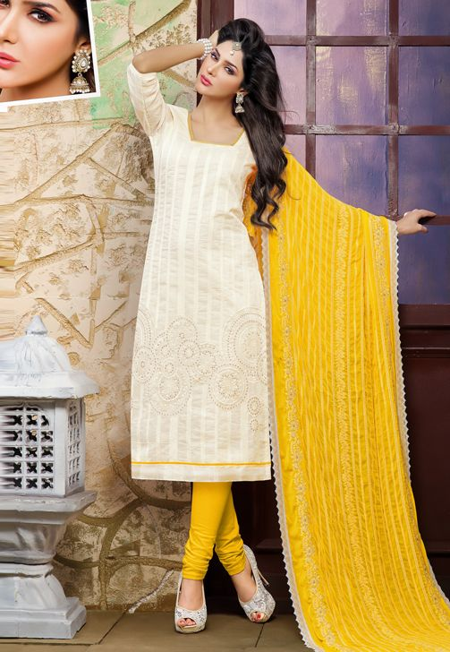 Chanderi Cotton And Jacquard Cream And Yellow Salwar Suit Dress Material-7005