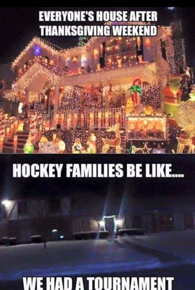 Hockey families at Christmas time! This is so us!  LOL