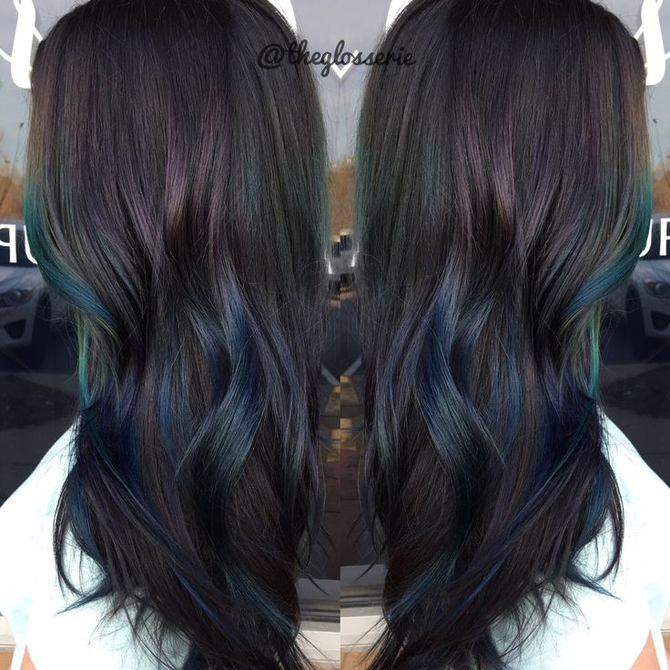 Purple & green oil slick hair by stylist April  #oilslickhair #unicornhair #mermaidhair #beauty #hair